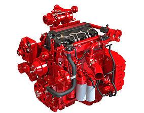 Red Heavy Duty Diesel Engine 3D Model