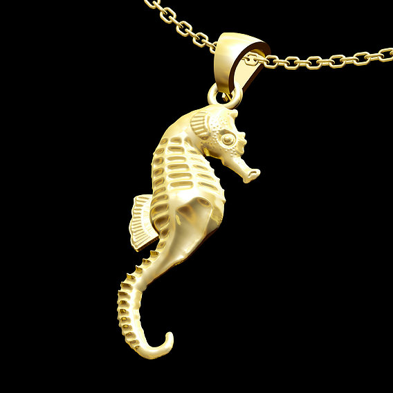 Seahorses Pendant jewelry Gold 3D print model