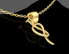 Large Nail Pendant jewelry Gold 3D print model