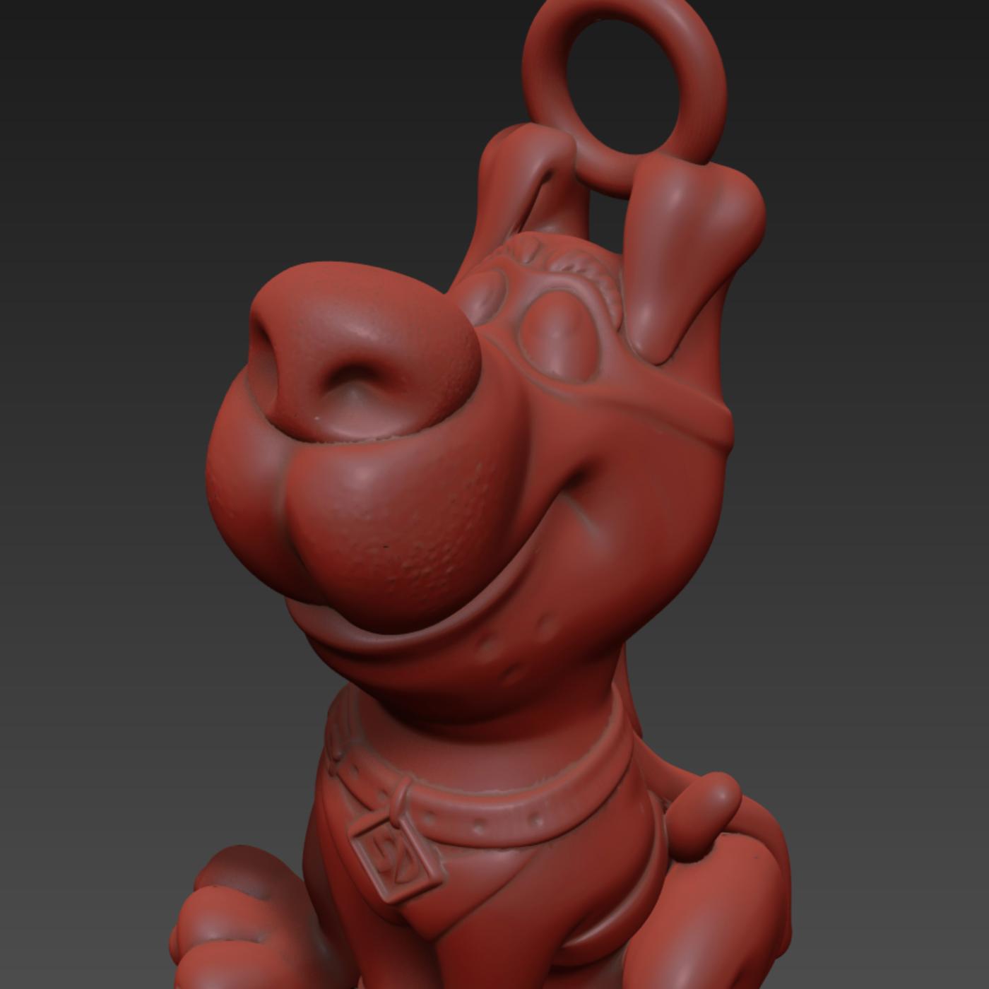Scooby Dog Cartoon pendant jewelry gold necklace medallion 3D print model