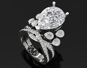 TJ 61 3D Platinum Flower Diamond Ring