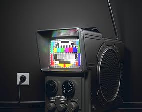 3D Hitachi Portable TV vintage