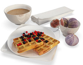 Breakfast Waffles and Figs 3D