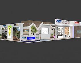 Exhibition 3d model 20x10 mtr 3 sides open Tiles-Ceramic
