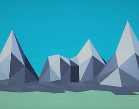 Low poly mountains snow 3D model
