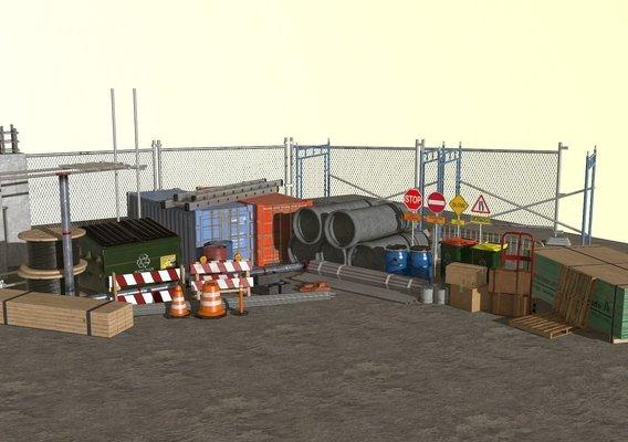 low poly Construction site assets