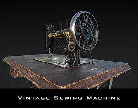 3D model VR / AR ready Vintage Sewing Machine