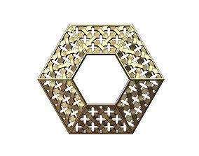 Gold hexagonal moucharabieh pendant 3D printable model