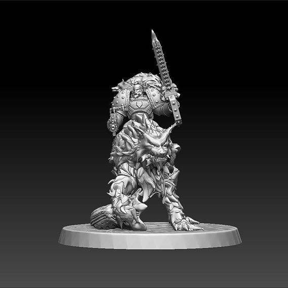 Space Wolves Wolf Guard - mounted version Printable Figurine