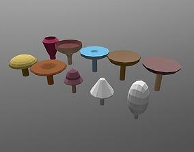 Low poly Mushrooms pack 3D model