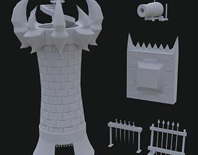 low poly set tower wall gun 3D asset