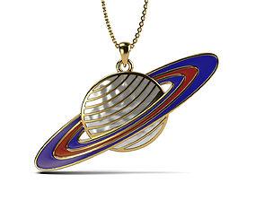 3D print model Saturn enamel pendant