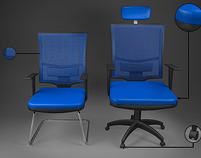 3D asset Office Chair Big and Small low poly