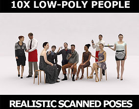 10x LOW POLY CAFE PEOPLE VOL01 CROWD 3D model