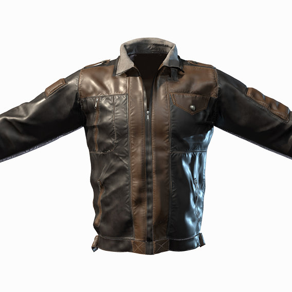 Male Leather Jacket Low-poly 3D model