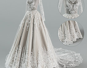3D Wedding dress with train