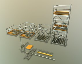 VR AR ready 3D low poly scaffolding game-ready
