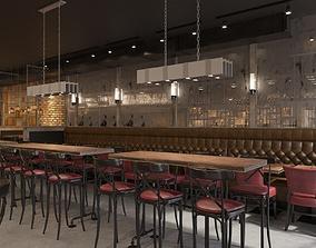 3D Industrial restaurant interior