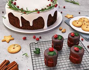 3D Christmas Food Set