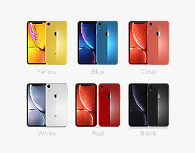Apple iPhone XR All Colors Black Blue Red Coral 3D model 1