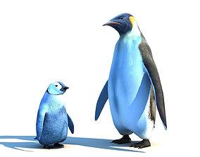 3D asset Emperor penguin family