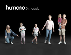 Humano 5-Pack - PEOPLE - HOME - FAMILLY - 5x 3D models