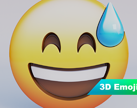 Grinning Face With Sweat 3D Emoji game-ready