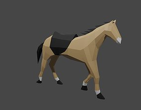 3D model animated low-poly Horse
