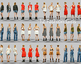 3D asset 12 Fashion Girls