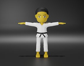 3D model Low poly Karate Character sets ready for mobile