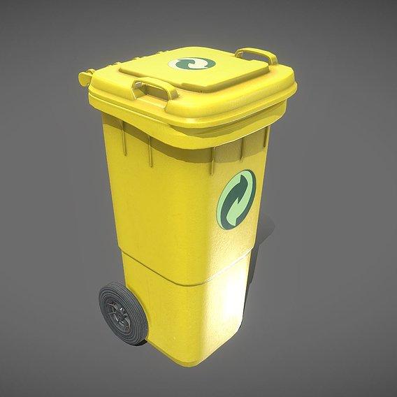 Yellow Plastic Waste Bin 60 Liters 945x360x448