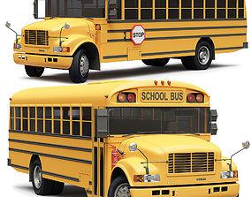 3D School Bus Blue Bird