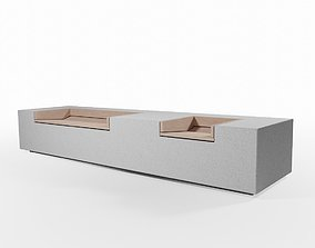 Concrete Outdoor Bench 3D asset low-poly