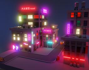 3D model Cyber city neon buildings