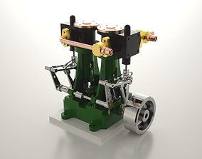 3D model Twin cylinder steam engine