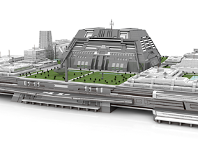 futuristic city center on platform 3D model