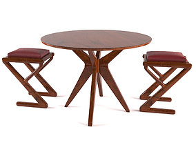 dining table and chair Glossy Wood 3D model