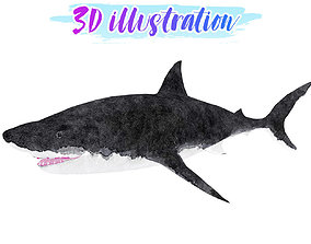 Low Poly Great Shark Illustration Animated - Game 3D model