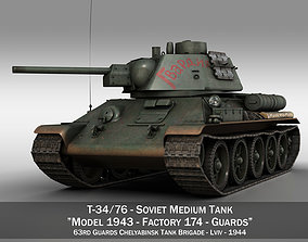 3D T-34-76 - Model 1943 - Soviet medium tank - Guards