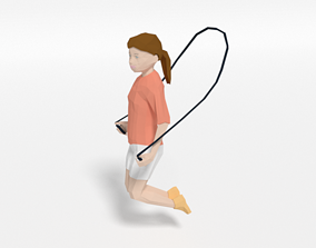 Low Poly Girl Playing With a Rope 3D asset