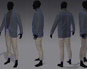 3D model Men in coat-pant and t-shirt marvelous