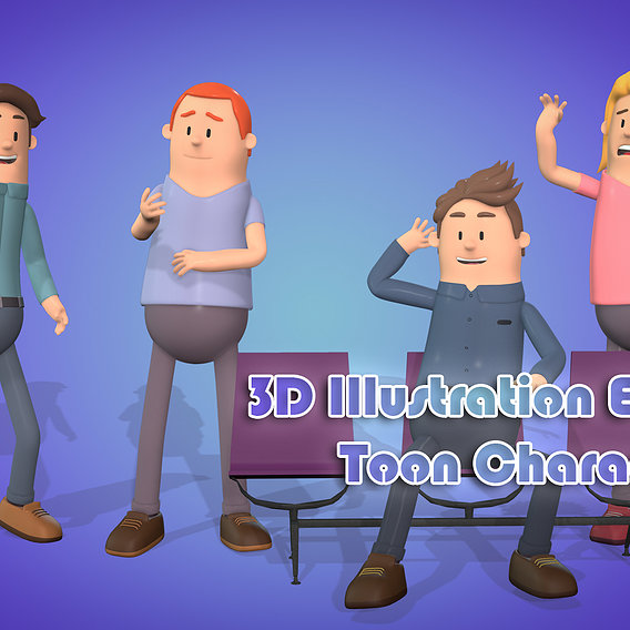 3D Illustration Explainer Toon Characters