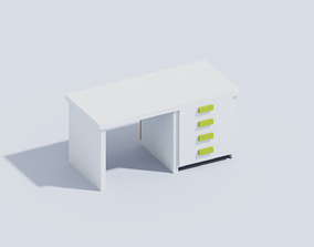 3D model Voxel Table With Drawers T1