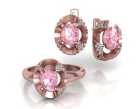 3D print model Oval Moraganite-Sapphire jewelry Set