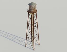 3D asset Water Tower - Low poly PBR