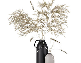 3D model Vases set by HM with pampas grass