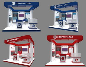 Booth design exhibit RED and Blue 3x3 include poster 3D