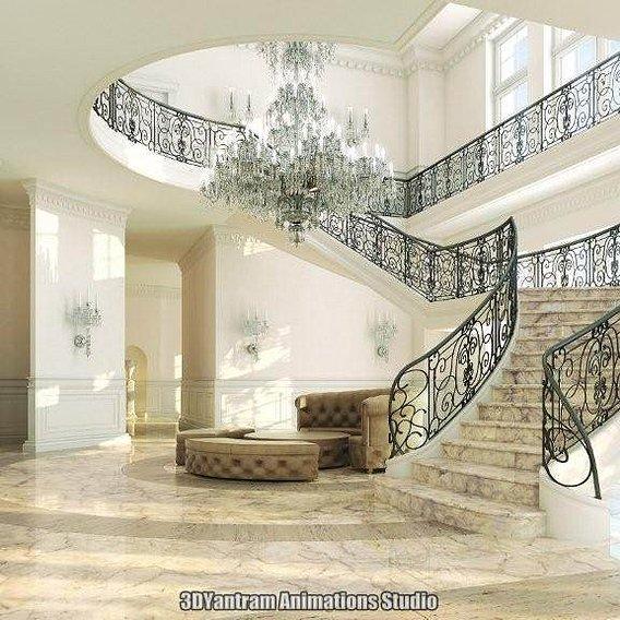 3d Classic room interior design