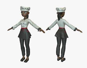 3D asset Cartoon Cook Girl 02