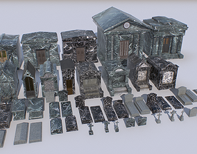 3D model low-poly Mausoleums Tombs and Graves pack 2